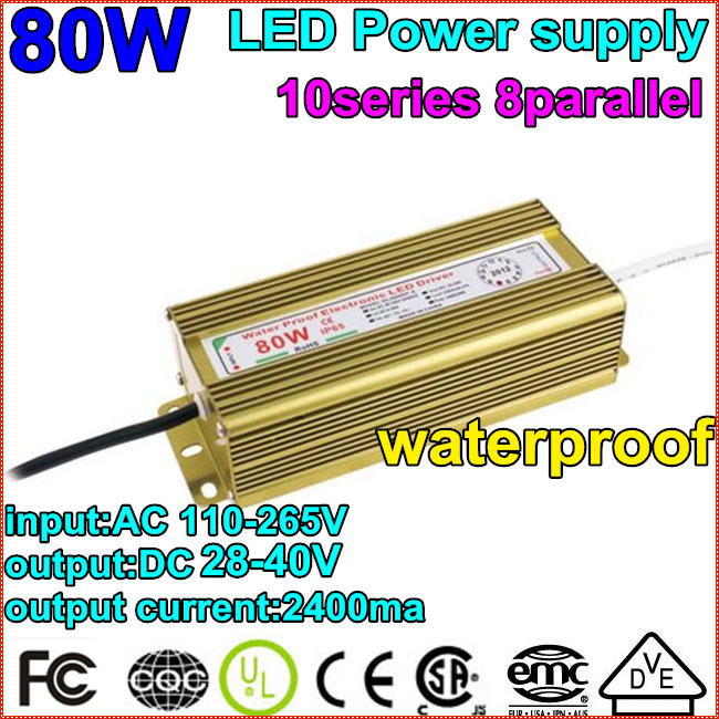 2pcs/lot1X80W Waterproof Constant Current Driver 10series8parallet80w ball LED Driver Power Supply 85-265V to DC20-40V Wholesale waterproof 12w led constant current source power supply driver 85 265v