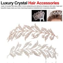 Luxury Silver Crystal Leaf Vine Tiaras Wedding Headband Hair Accessories Rhinestone Pageant Prom Head Jewelry Headdress