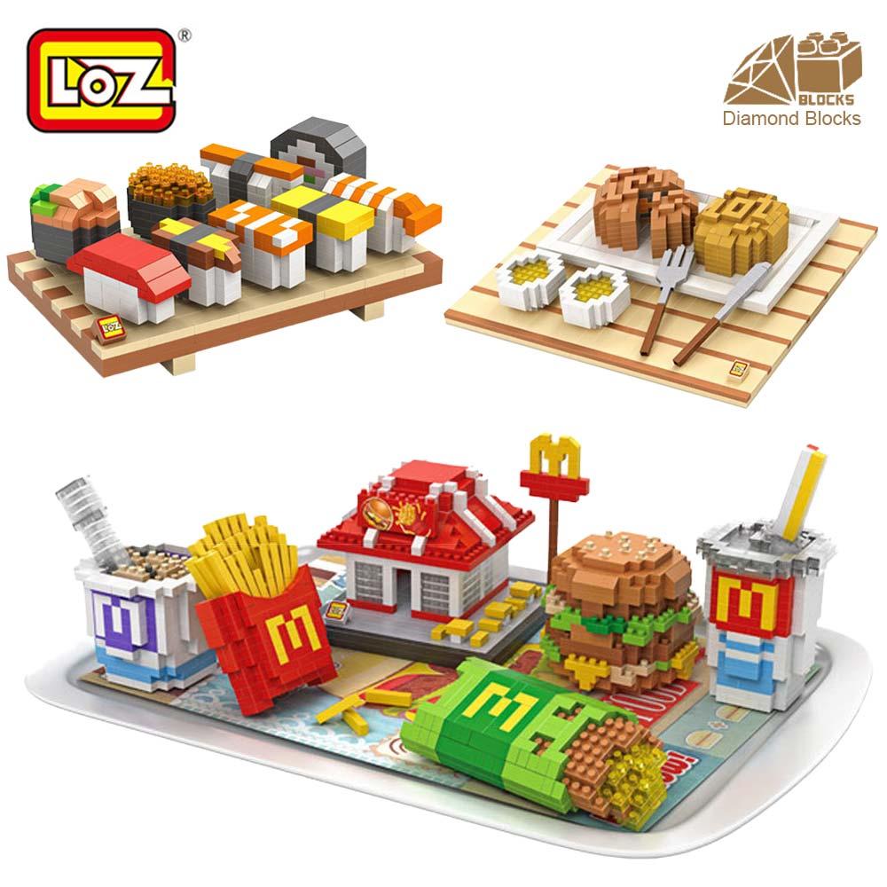 Mr.Froger LOZ Hamburger Sushi Mooncake Delicious Food model Diamond block creator series Pixel Building Blocks Gift Micro Bricks loz мини конструктор diamond block сорванец стю