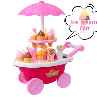 39PCS Pretend Play Kitchen Food Groceries Toys Furniture Toys Ice Cream Cart Toys Mini Sweet Candy Trolley Shop For Kid