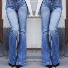 Jeans Woman Fashion Washed High Waist Flare Denim Vintage Slim Ripped Street Women Streetwear jean femme  H40
