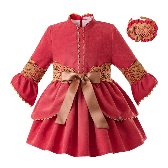Pettigirl Red Lace Baby Girl Dress Stand Collar Kids Dresses Boutique Girl  Clothing With Headwear G-DMGD106-B349 0d4c14ed252c