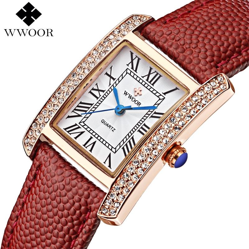 WWOOR Brand Luxury Women Watches Square Dress Ladies Quartz Watch Women Diamond Leather Strap Wrist Watch Red Clock Montre Femme