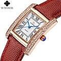 WWOOR Marke Luxus Frauen Uhren Platz Kleid Damen Quarzuhr Frauen Diamant Lederband Armbanduhr Rot Uhr Montre Femme