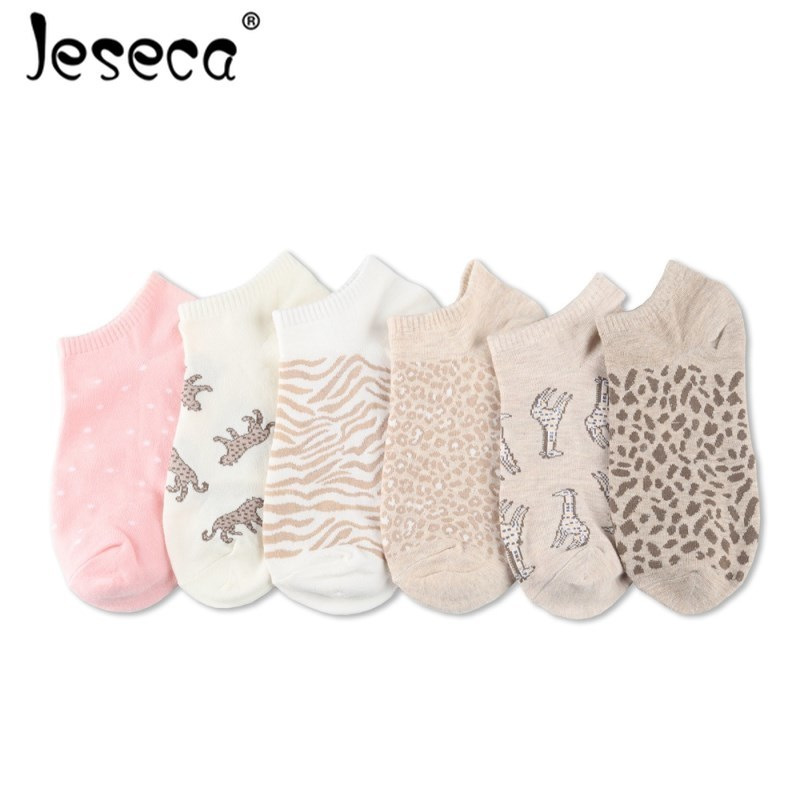 Jeseca Fashion Women Sexy Leopard Print Short   Socks   Girls Cartoon Animal Cute   Sock   Female Christmas Harajuku Vintage Streetwear