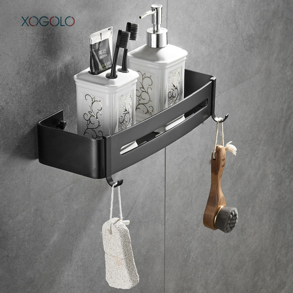 XOGOLO Black Bathroom Shower Shelf Rectangular Wall Shower Caddy ...