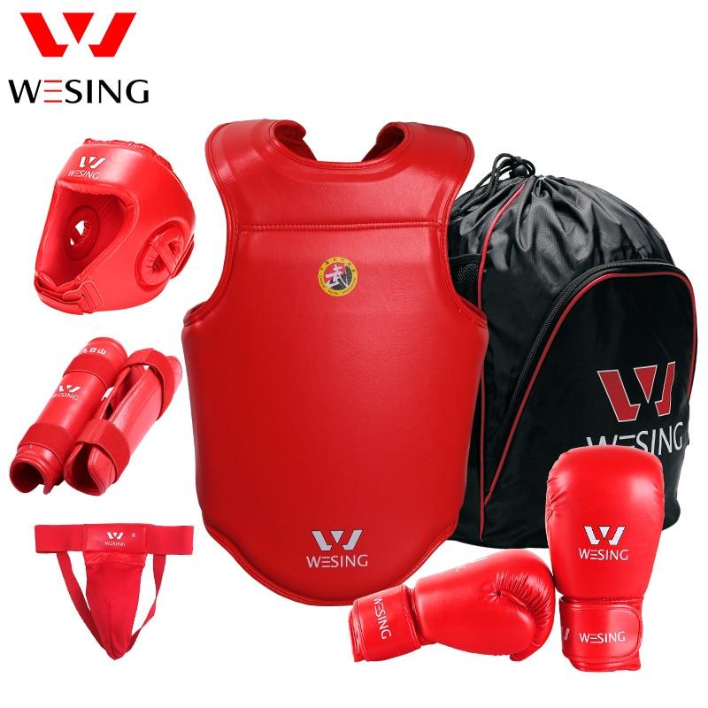 Professional 6 Pieces Sets Sanda Protective Gear Full Set Flanchard Head Protection Chest Guard Boxing Gloves taekwondo sanda boxing training target black red size m