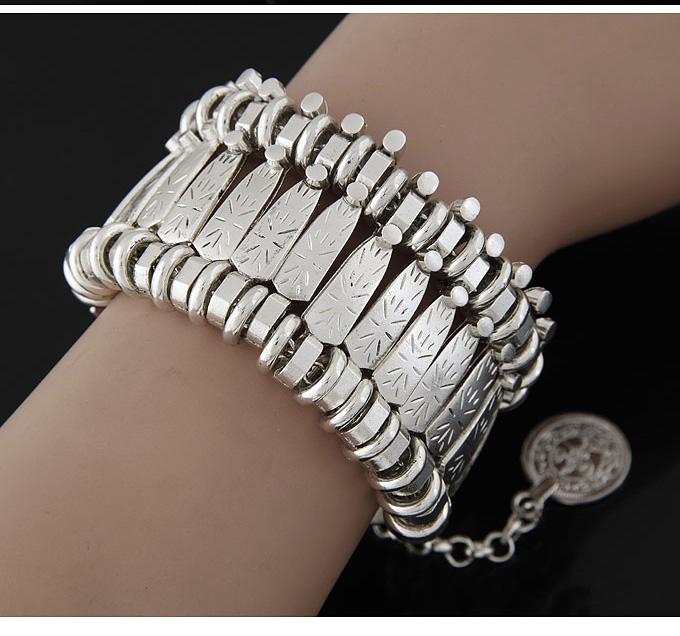 Gypsy Bohemian Coin Bracelet Silver Vintage Flower Statement Boho Coachella Festival Turkish Beach Jewelry Tribal Ethnic