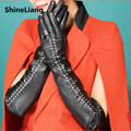 2017 Women's leatherette gloves Long Thin style 50CM Rivet fashion Punk Designer high quality Uniform code number black Smooth