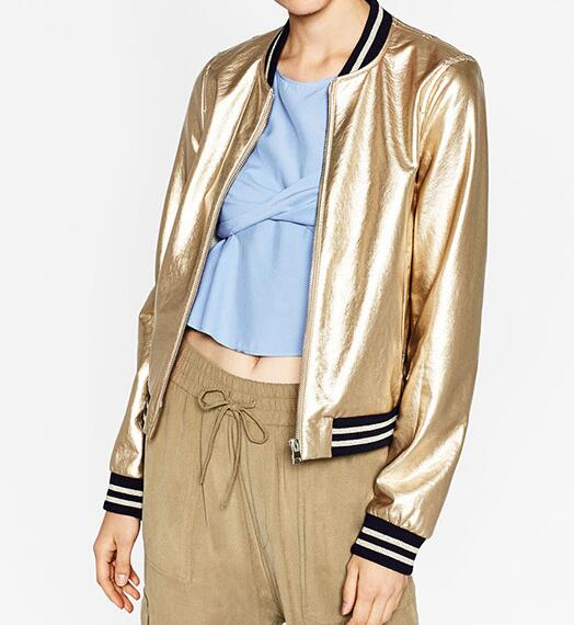 82c6bd5e4 US $40.99 |Woman 2016 Autumn Winter Fashion Gold Metallic Effect Faux  Leather Bomber Jacket with Knit Stand Collar And hem Jackets-in Basic  Jackets ...