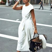 Black White Summer Sash Wide Leg Jumpsuit Lace Up Women Overalls Fashion Pleated Loose Casual Jumpsuit