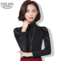 2017 Ladies T Shirt Long Sleeved Turtleneck Shirt Mesh Slim Lace Autumn New Fashion Arrivals All