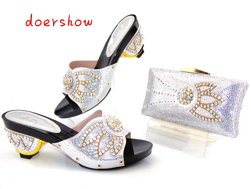 doershow new arrival African Women Bags And Shoes For Wedding Heels Good Quality Italian Shoes With Matching Bags  AS1-19 doershow fast shipping fashion african wedding shoes with matching bags african women shoes and bags set free shipping hzl1 29