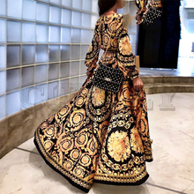 CUERLY Vintage floral print long women dress summer Sexy long sleeve palace maxi dress paisley 2019 Boho robe party club dress все цены