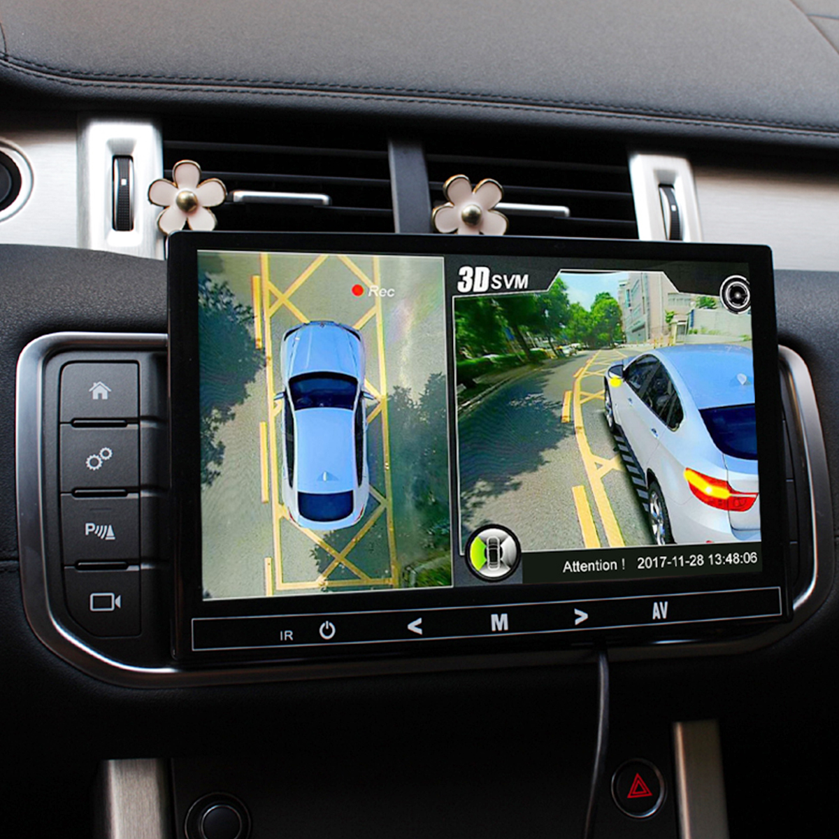 3D HD 360 <font><b>Car</b></font> Surround View Monitoring System Bird View System 4 Camera <font><b>DVR</b></font> HD 960P Recorder Parking Monitoring remote receiver image