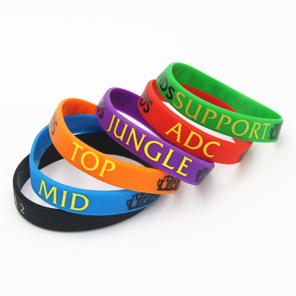 1pc Lol Bracelet League Of Legend Wristband Silicone Bracelet With Adc, Jungle, Mid, Support, Dota 2 Printed Band Sh001 High Quality Materials