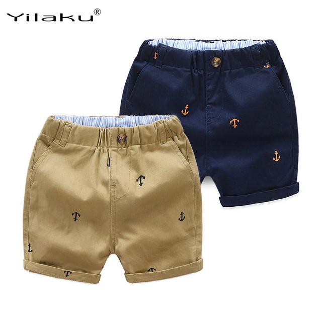 Yilaku Boys Shorts Cotton Print Beach Wear Baby Boy Summer Clothes 2018 Above Knee Kids Pants Children Shorts Navy Khaki CI063