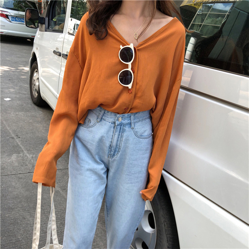 Women Solid Color Single Breasted Chiffon Blouse Shirt V Neck Long Sleeve Blouse Casual Streetwear Shirt Tops
