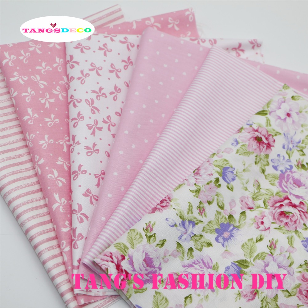 6PCS --- Kiváló minőségű 40x50 cm-es DIY pamutszövet rózsaszín stíluskészletek