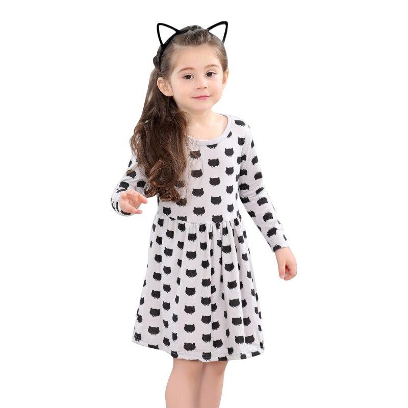 Kids Baby Girls Casual Dress Cat Head Print Dress CuteKids Children Clothes 1-8T прокладка гбц c5a6 b5 1 8 1 8t
