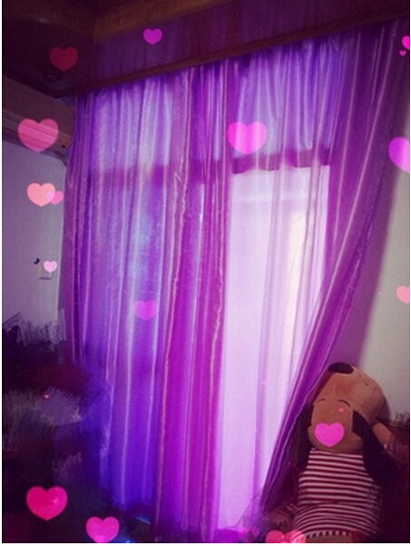 Freeshipping 2017 New Living Room Satin Curtains For Home Solid Thin Purple Blue White Decoration