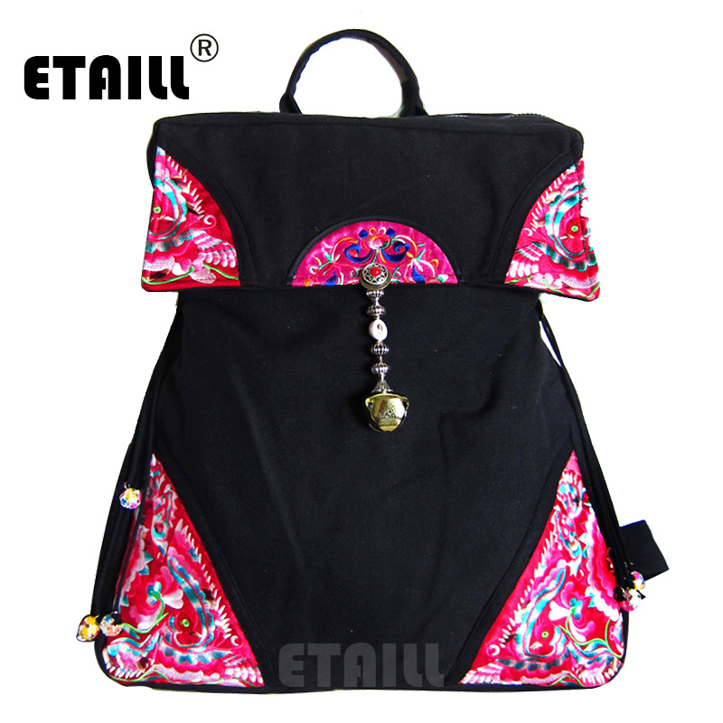 ETAILL 2018 Flower Embroidered Backpacks for Girls Chinese Hmong Boho Indian Thai Canvas Ethnic Travel Rucksack Sac a Dos Femme free shipping vintage hmong tribal ethnic thai indian boho shoulder bag message bag pu leather handmade embroidery tapestry 1018