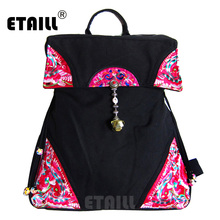 ETAILL 2018 Flower Embroidered Backpacks for Girls Chinese Hmong Boho Indian Thai Canvas Ethnic Travel Rucksack Sac a Dos Femme