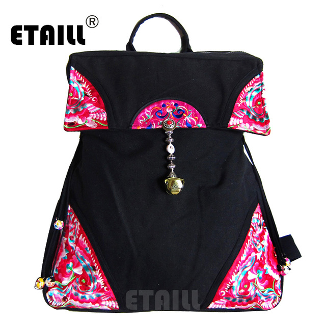 613525c098df ETAILL 2018 Flower Embroidered Backpacks for Girls Chinese Hmong Boho  Indian Thai Canvas Ethnic Travel Rucksack Sac a Dos Femme