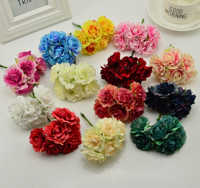 6pcs Blooming Tree Peony Artificial Flowers For Wedding Party Home