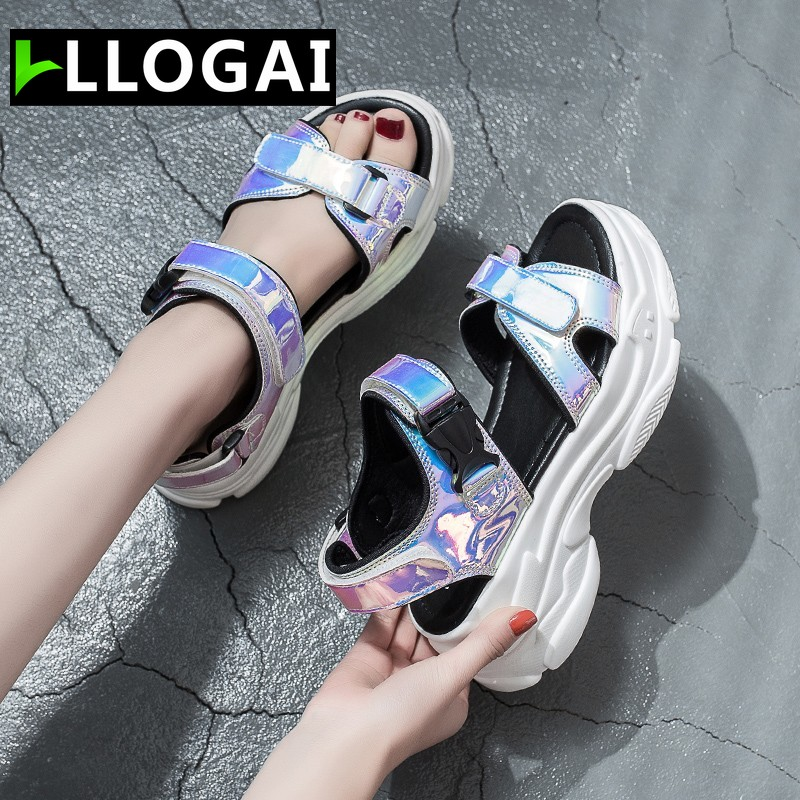 Women Sandals 2019 New Summer Sandals Ladies Casual Shoes Women Bling Wedges Buckle Strap Platform Shoes 5 CM Sandalias Mujer