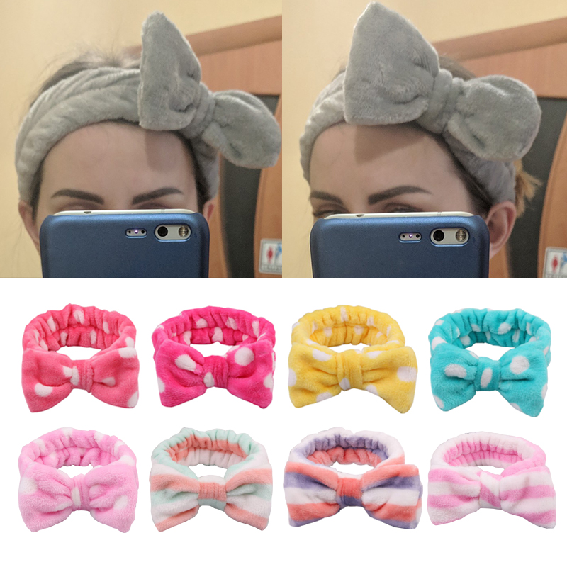 2020 New Women's Coral Fleece Elastic Hair Band Bow Wash Face Makeup Fashion Headband For Girls Headwear Hair Accessories