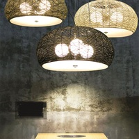 Chinese bamboo pendant lights ball living room study cafe bar single head D46CM pendant lamps retro lanterns ZA