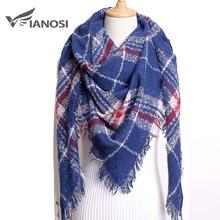 VIANOSI зимний треугольный шарф для женщин плед Теплые кашемировые шарфы женские шали пашмины леди бандана обертывания одеяло