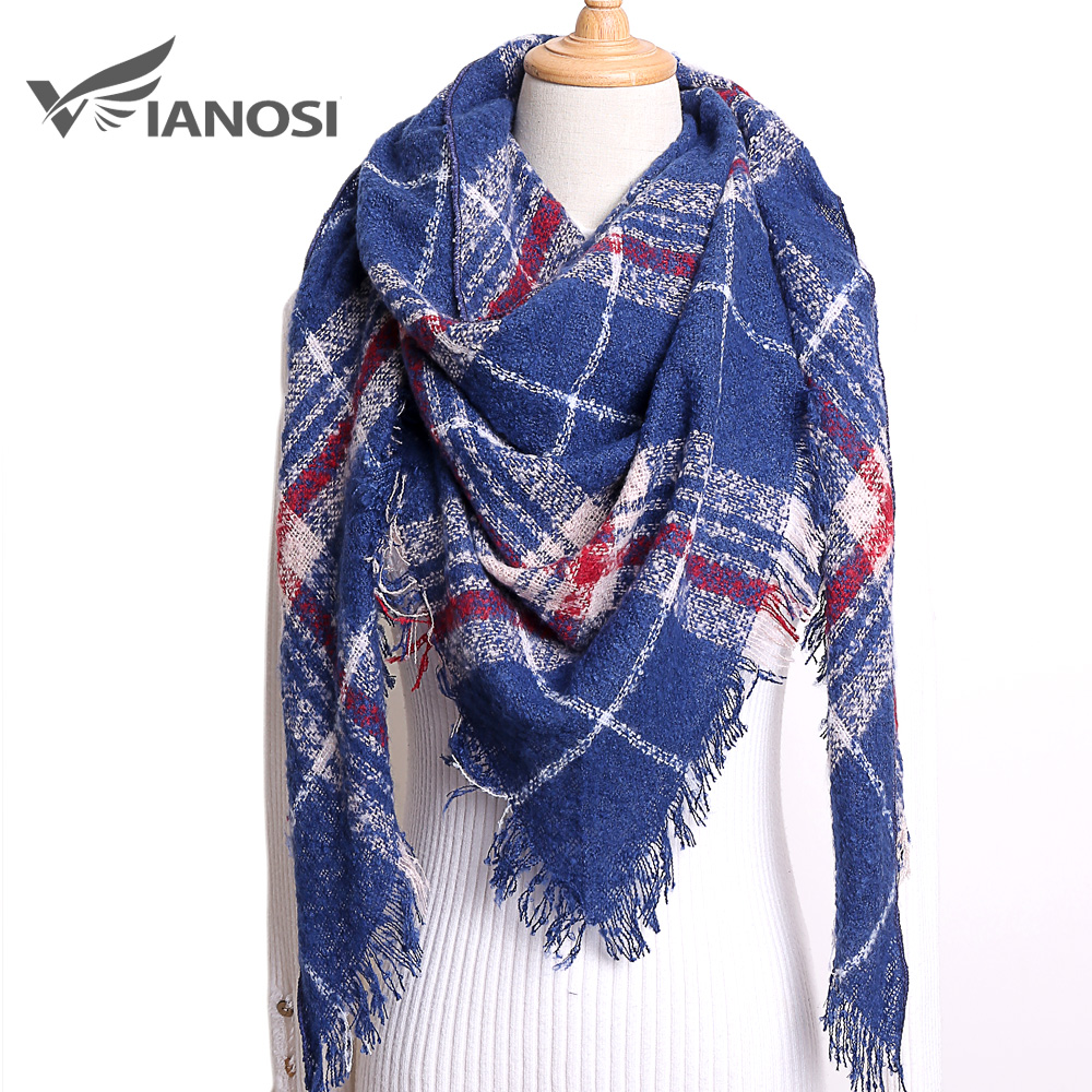 VIANOSI Winter Triangle Scarf For Women Plaid Warm Cashmere Scarves Female Shawls Pashmina Lady Bandana Wraps Blanket