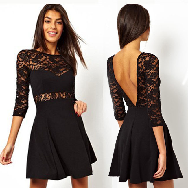2014 sexy big v shaped open back short black lace dresses