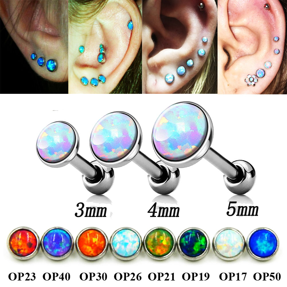 3pcs Mixed Size Opal Gem Ear Cartilage Helix Studs Rings Piercing Earring Fashion Body Jewelry