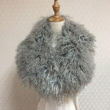 Женский зимний воротник супер Женский s настоящий монгольский овечий мех шарф разные цвета