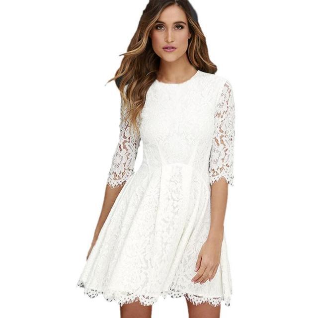 f168e14378 Precio más bajo vestido mujeres elegante verano moda blanco barato Encaje  sexy playa vestido blanco Encaje