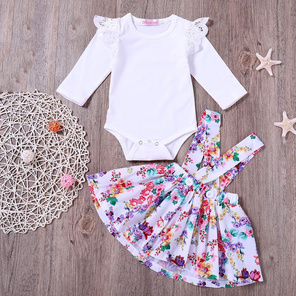 6bccb659ca7d9 US $10.68 20% OFF 2PCS Baby Girl Clothes Set Toddler Overalls Shorts Baby  Spring Autumn Kids Clothing Set Infant Clothes Outfits Bib Skirt Top-in ...