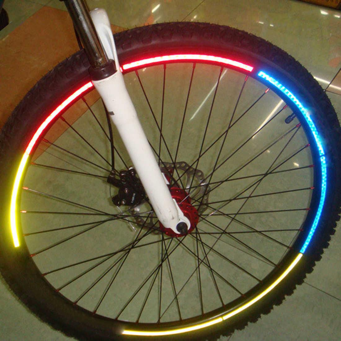 2 PCS เรืองแสงจักรยานจักรยานรถจักรยานยนต์ยางล้อยางสะท้อนแสงแถบสติกเกอร์รูปลอกเทปความปลอดภัย