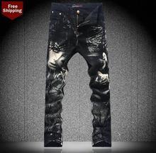Осень черный цветок печатных мужские джинсы джинсовые брюки мужской одежды персонализированные люксовый бренд свободного покроя эластичные узкие брюки