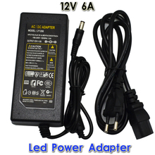 Universal DC 12V 6A AC100-240V to Led Power Supply Adapter Converter Charger Transformer with LED Indicator light Free Shipping