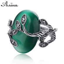 Carved Agate Ring Antique Silver Plate Natural Emerald Jewelry Vintage Retro Chinese Jade Rings Zircon Big Stone Ring For Women