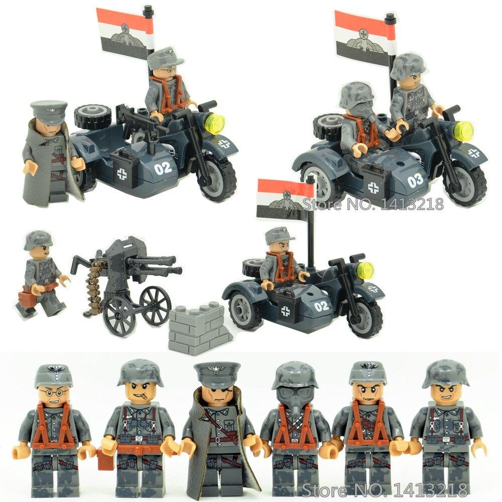 3 in 1 German Army Military World War 2 Soldier SWAT Weapon Gun navy seals team Building Blocks Figures Boy Toys Gifts Children