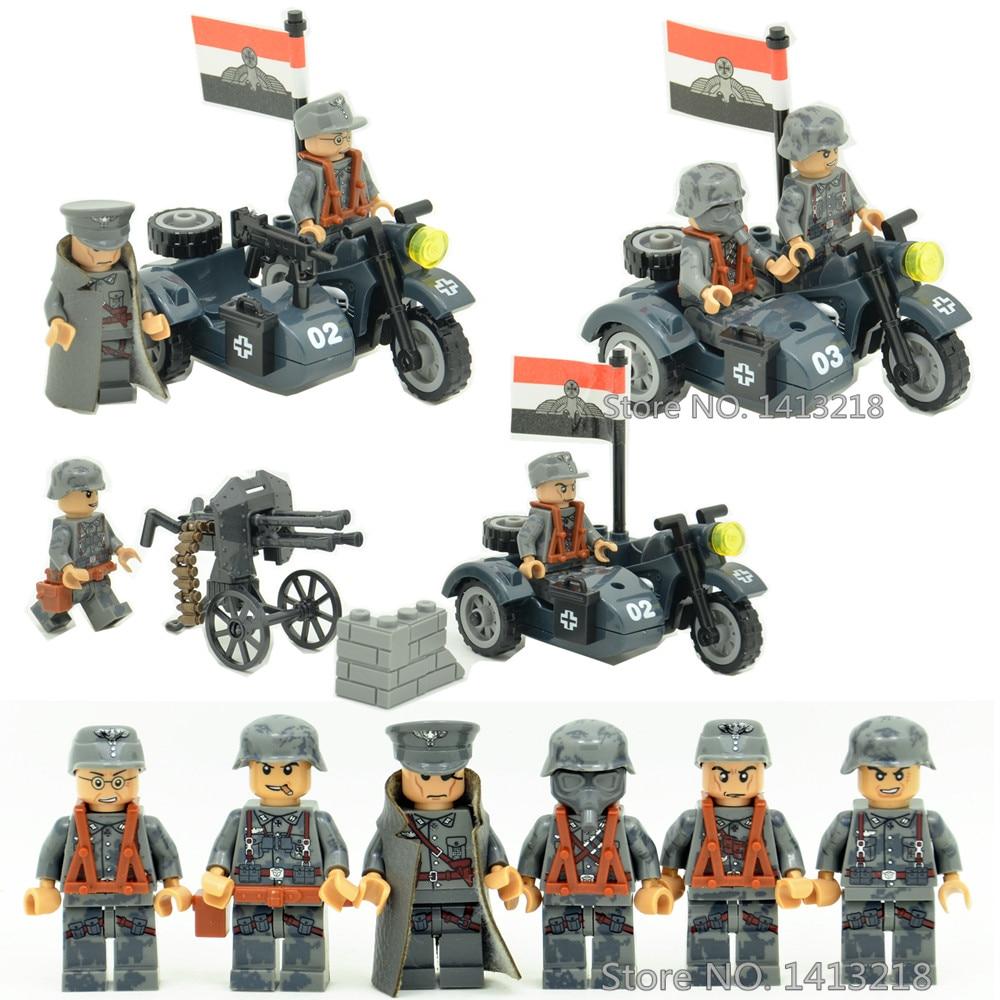 3 in 1 German Army Waffen SS Military World War 2 Soldier SWAT Weapon Gun Police Building Blocks Figures Boy Toy Gift Children