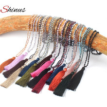 Shinus Necklace Statement Collier Maxi Jewelry Women Necklaces Tassel Bohemian Beaded Crystal Beads Handmade Pendants Trendy