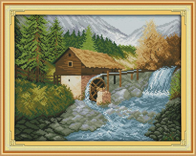 Needlework Chinese Painting Pastoral The bridge river and beautiful house Cross Stitch K ...