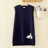 Female Rabbit O Neck Sleeveless Sweater Women Pink/Blue/Black Knit Vest Spring Autumn Casual Big Size Loose Waistcoat