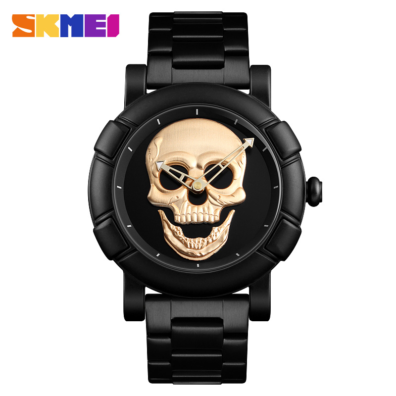 SKMEI 2018 Skull Quartz Watch Men Creativity Watches Stainless Steel Male Clock Water Resistant Stainless Steel Strap Wristwatch