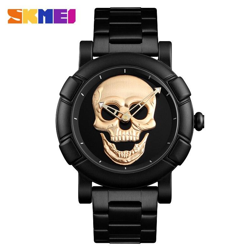 SKMEI 2018 Skull Quartz Watch Men Creativity Watches Stainless Steel Male Clock Water Resistant Stainless Steel Strap Wristwatch